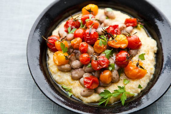 Creamy Polenta with Roasted Cherry Tomatoes and Shell Beans // the year in food