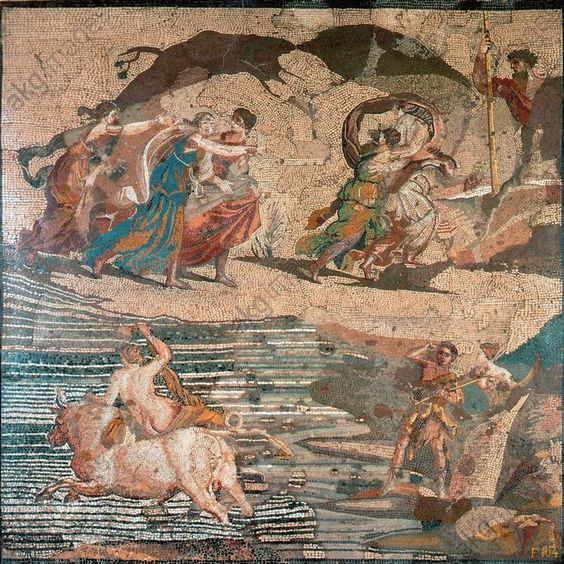 """EUROPA ON THE BULL / ROM. MOSAIC / C1 AD. Mythology / Europa. Roman, 1st half of 1st century AD. Mosaic after a painting by Antiphilos (?) – """"Europa on the Bull"""".  (Zeus in the form of a bull abducts Europa, her father Agenor above). Opus vermiculatum, 85 × 84.5cm. Found: Praeneste."""