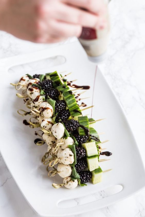 BlackberryCucumber Caprese Skewers   Party appetizers, entertaining tips, party ideas, recipes, party cocktails and more from @cydconverse