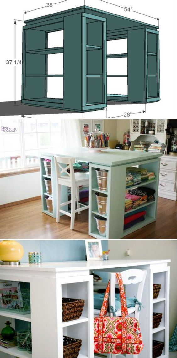 Happy craft tables and crafts on pinterest for Corner craft table with storage