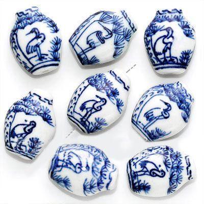Porcelain Chinese Blue White Flat Vase Crane Beads