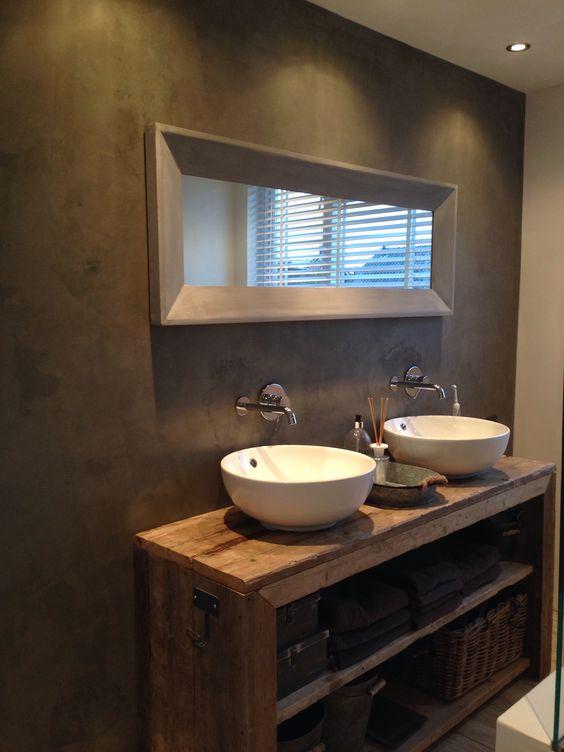 Badkamer badkamer pinterest betonmuren kasten en badkamer wastafel kasten - Badkamer met wastafel ...
