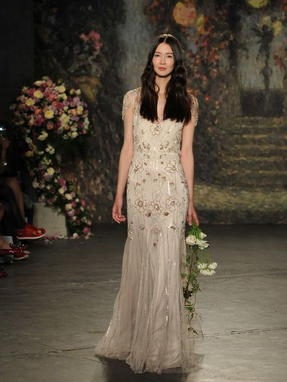 Jenny Packham Spring 2016 wedding dress - champagne wedding dress with sequin flowers from Spring 2016: