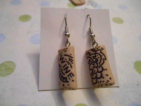 Wine cork earrings by christinaserra3 on Etsy