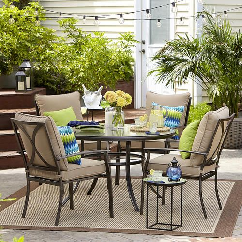 Garden Oasis Harrison 5 Piece Cushion Dining Set Tan Discount