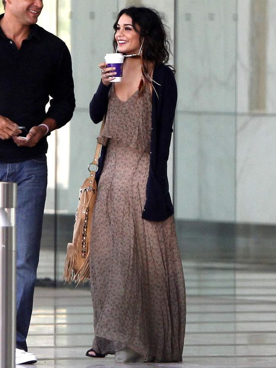 Vanessa Hudgens is all smiles in the Fiona Overlay Top Maxi Dress ...
