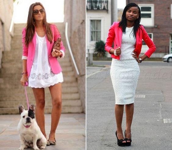 A rózsaszín blézer remekül mutat egy fehér, csipkés ruhácskával.