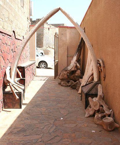Whale jaw arch , skull and vertebrae at a restaurant at Mirbat Dhofar Southern Oman