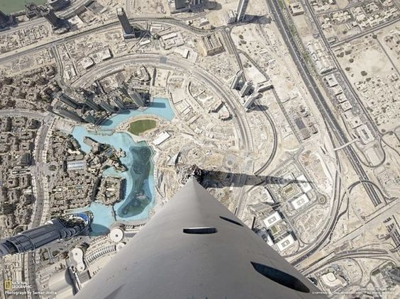 Dubai, vu du gratte-ciel Burj Halifa haut   de 828 mètres (163 étages)