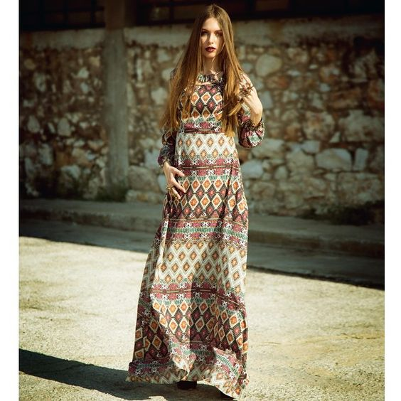 "I'm getting wise and I'm feeling so bohemian like you... If you're feeling so bohemian today then our ""Baley"" dress is the one you should be wearing.. #giuliashandmadeclothing#handmadeingreece#flashcollection#newcollection#newdesigner#aw14_15#newbrand#fresh#fashion#bohodress#bohemian#hippie#patterns#baley#dress#baloonsleeves#maxi"