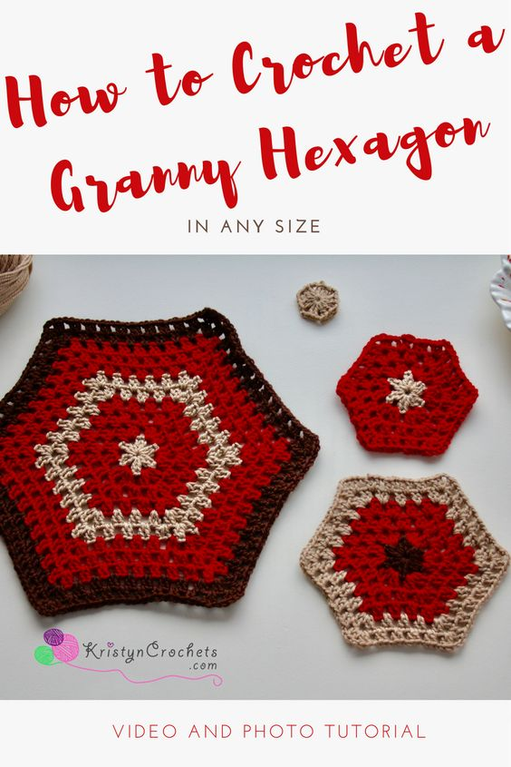 How to crochet the granny hexagon in any size with our without color changes. Tutorial includes video, photo, and written instructions.