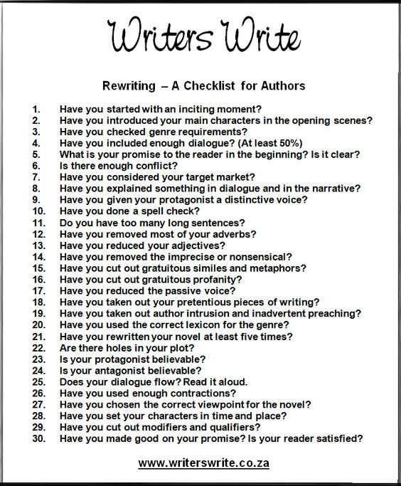 Rewriting u2013 A Checklist for Authors About Fiction Writing - how to write an objective
