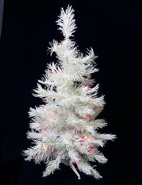2\u0027 Pre-Lit White Artificial Christmas Tree - Multi Lights Trees