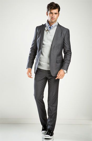 John Varvatos Star USA Blazer & Trousers with PLECTRUM by Ben Sherman Shawl Collar Sweater and John Varvatos Star USA 'Slim Fit' Dress Shirt $550