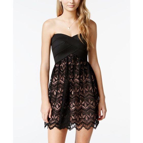 Trixxi Juniors' Lace Bandage Dress ($63) ❤ liked on Polyvore featuring dresses, lacy dress, bandage cocktail dresses, trixxi, black cocktail dresses and lace dress