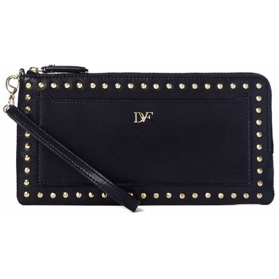 DIANE VON FURSTENBERG Cafe Studded Leather Clutch (£61) ❤ liked on Polyvore featuring bags, handbags, clutches, black, black leather studded handbag, diane von furstenberg handbags, diane von furstenberg clutches, black handbags and diane von furstenberg