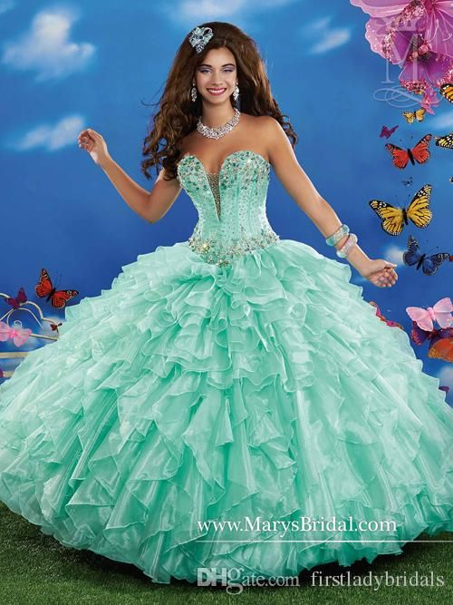 Mint Green Quinceanera Dresses Ball Gowns Organza V-neck Long Floor Length Lace Up Back 2015 Girl Birthday Party Dress Jacket Custom Made