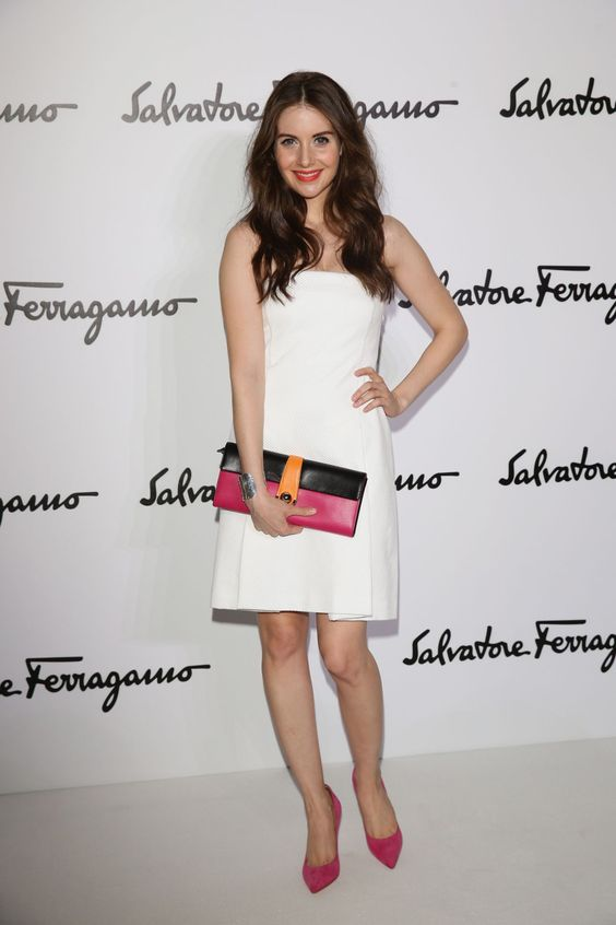 Alison Brie wearing @ferragamo Resort 2014 – Salvatore Ferragamo Fall Winter 2014 2015 Show #2014