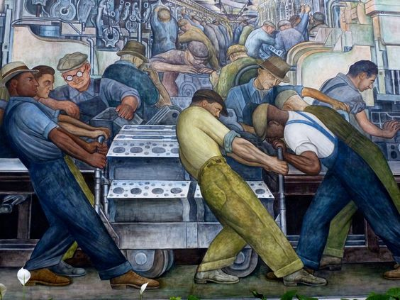 Diego rivera mural panel 1932 depicting workers at the for Diego rivera ford mural