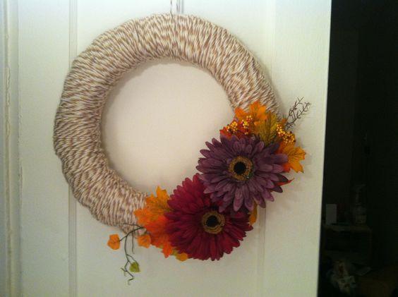 Yarn and Flower Fall Wreath...