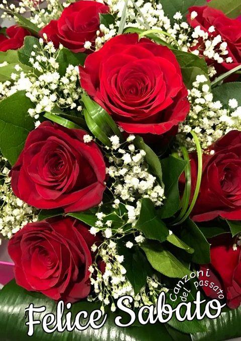 Felice Sabato Bouquet Di Rose Rosse Mazzo Di Rose Fiori