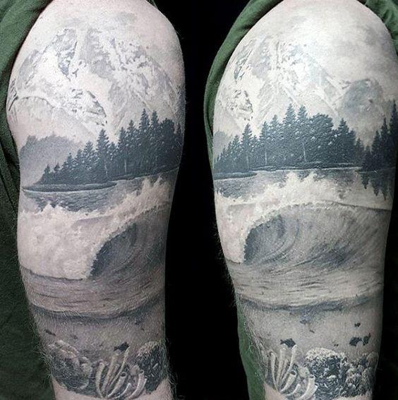 black work half sleeve underwater scene and lake tattoo on male tattoo brainstorm pinterest. Black Bedroom Furniture Sets. Home Design Ideas