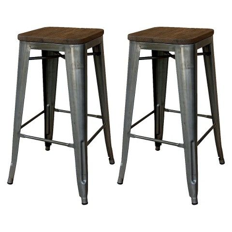 """Threshold™ Hampden Industrial 29"""" Barstool with Wood Top (Set of 2)   target"""