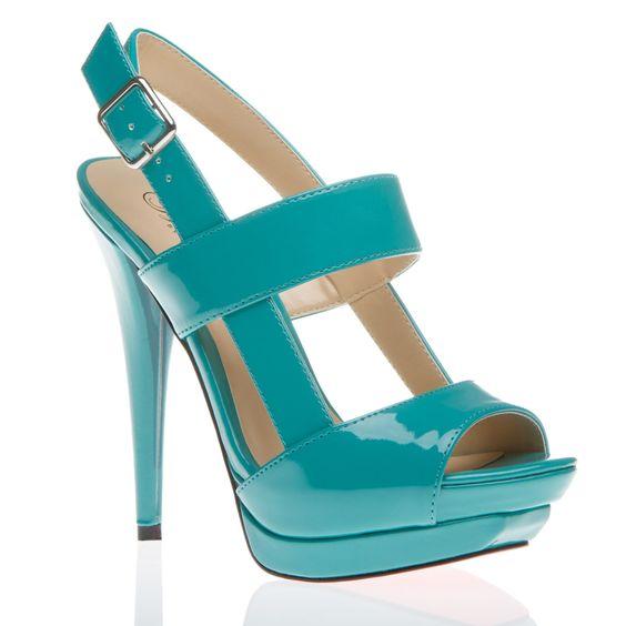 pretty turquoise peep-toe pump