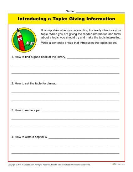 Introducing a Topic: Giving Information | Worksheets and Writing