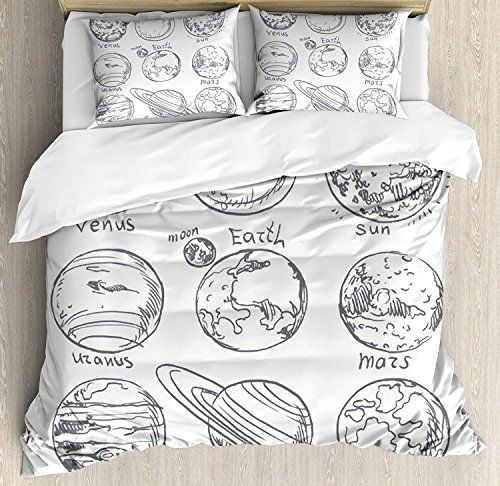 Bedding Printed Duvet Cover Set Doodle 4 Piece Full Size Planets Of Solar System Sun Mercury Earth Duvet Cover Sets Full Bedding Sets Queen Size Duvet Covers