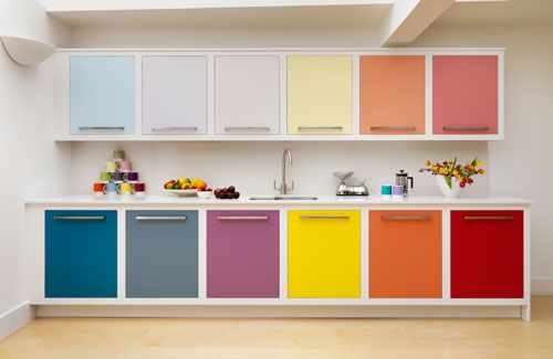 Ma Bicyclette: Home Interiors | How To Bring Summer Indoors - Rainbow Kitchen Cupboards