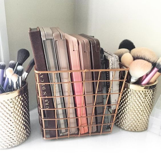 wire basket, brass basket, makeup pallets, makeup brushes