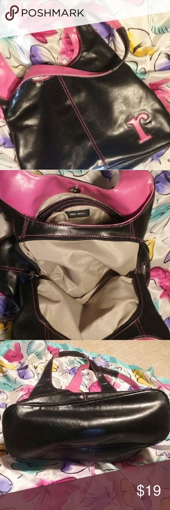 """Calling all R's! Black/pink Nine West purse Beautiful monogrammed vegan leather purse in glossy black and fuschia. 15 x  8.5 x 4.5"""" with a 10"""" drop. 3 compartments, middle one zips, magnetic snap closure, 1 inner zip and several slides. Would be a wonderful personalised gift! EUC Nine West Bags Shoulder Bags"""