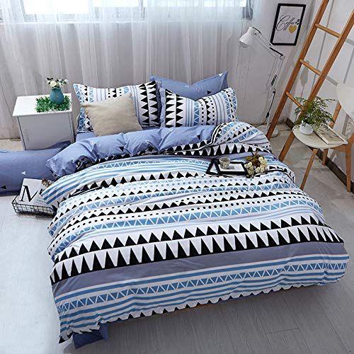 Hzbox Duvet Cover Sets Bedding Sets Breathable Cotton Geometric Wavy Stripes Reversible Design Pillowcase Qui Geometric Bedding Duvet Covers Striped Bedding