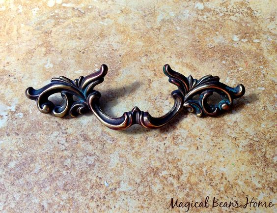 """Authentic Vintage French Provincial 7"""" Dark Brass Pull,  Waterfall Restoration Hardware, Salvaged Decorative Furniture Handle, Drawer Pulls by MagicalBeansHome on Etsy"""