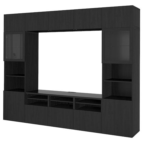 Besta Tv Storage Combination Glass Doors Walnut Effect Light