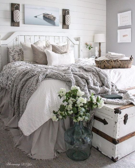 Love everything about this. Farmhouse Bedroom Inspiration! All the swooning over this space ... ALL OF IT! #farmhousebedroom is a must and very popular for your home. #walldecor and tips and tricks to style your bedroom. Interior design with a modern farmhouse twist
