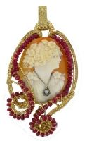 Antique Diamond Cameo with Rubies Gold Setting /525