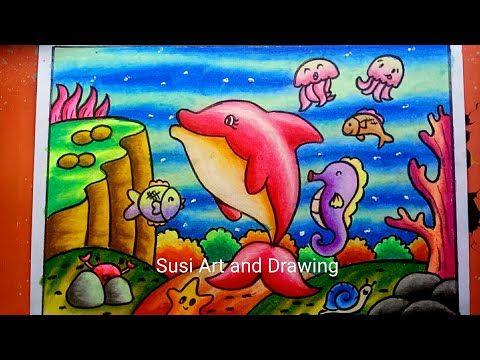 Cara Menggambar Dan Mewarnai Pemandangan Alam Bawah Laut Dengan