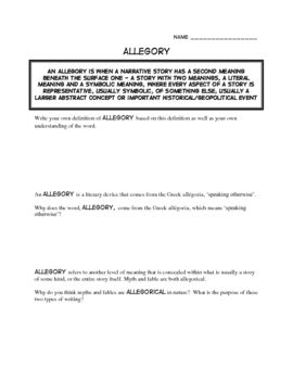 Allegory: Worksheets on a Literary Device for ANY BOOK   Any Book ...
