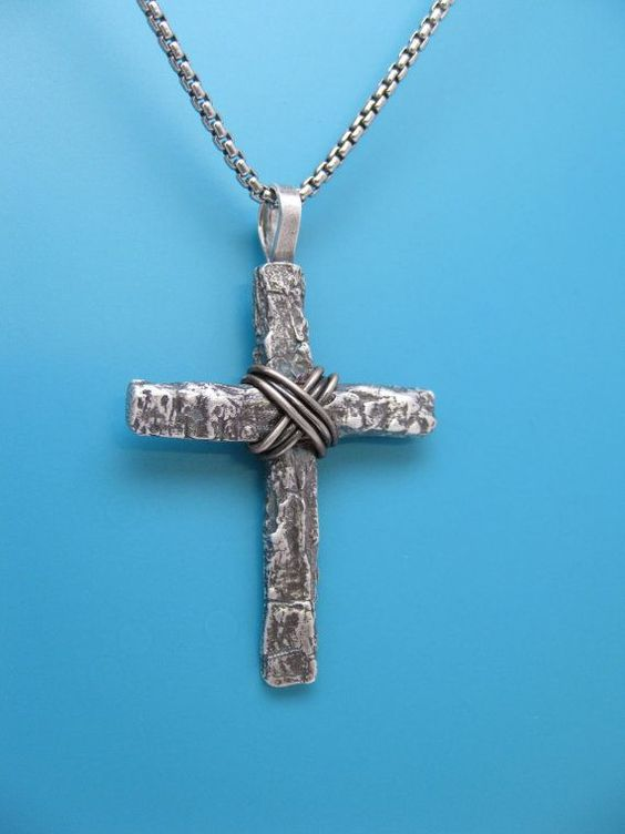 Mens Sterling Silver Tree Bark Cross Mens by TheCaptiveHeart