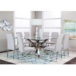 Lacks Classic White 9 Pc Dining Set Square Dining Tables Square Glass Dining Table Glass Dining Table Decor
