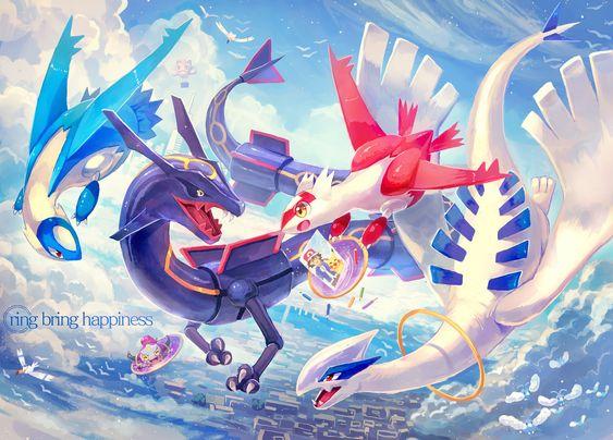 Pokemon, pixiv. Latias, Latios,  shiny Rayquaza, Lugia, and Hoopa