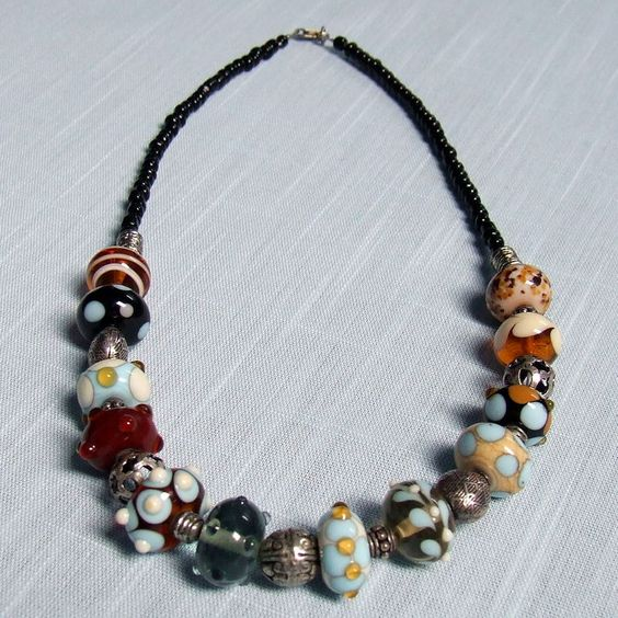 Beautiful colours for Autumn. Lampwork Glass Bead Necklace by Hearts & Crosses