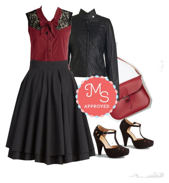 Make a Mission Statement Top in Burgundy by modcloth on Polyvore featuring polyvore moda style Jack BB Dakota Moon Collection Brit-Stitch WorkWear outfit fashion modcloth separates