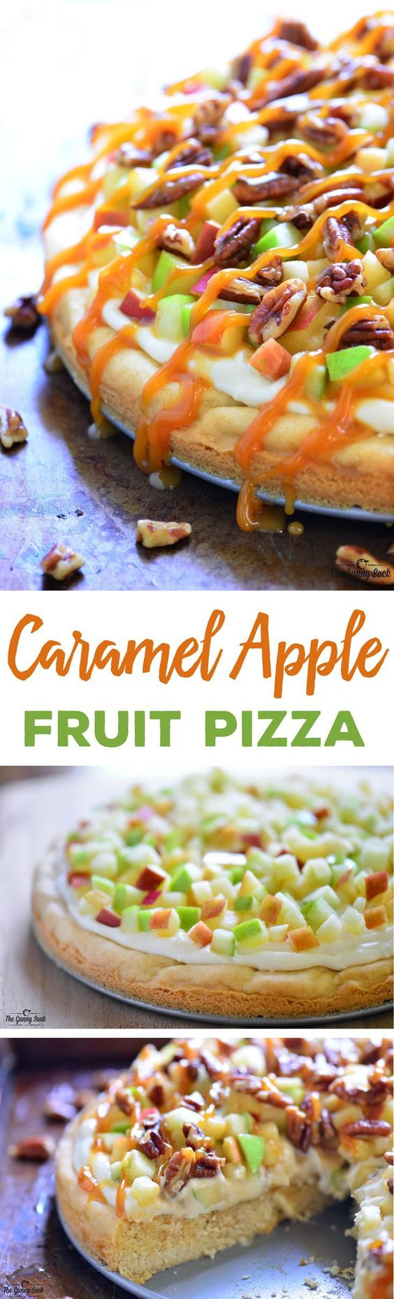This Caramel Apple Fruit Pizza is a delicious fall dessert with a sugar cookie crust, cream cheese frosting, toasted pecans and a drizzle of caramel.: