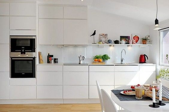 If I were to do build in cupboards - I'd do something a but more sleek then classic to blend in with the walls