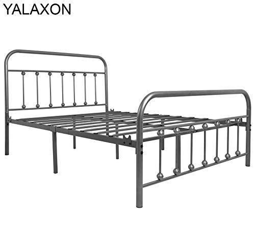 Yalaxon Vintage Sturdy Full Size Metal Bed Frame With Headboard
