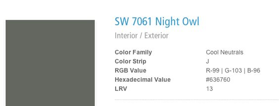 Sherwin Williams Night Owl Home Pinterest Night