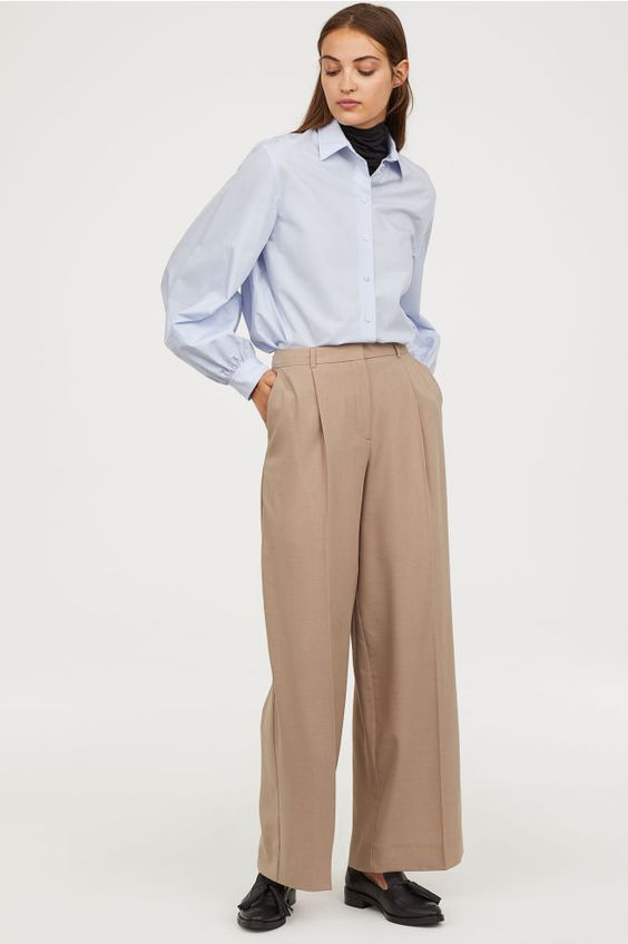 Wide-leg Pants - Light taupe - Ladies | H&M US 1